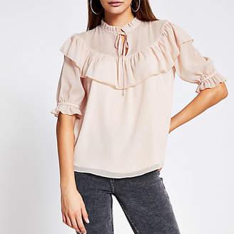 River Island Pink ruffle short sleeve sheer blouse