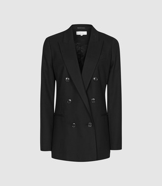 Reiss Hartley Jacket - Textured Double Breasted Blazer in Black