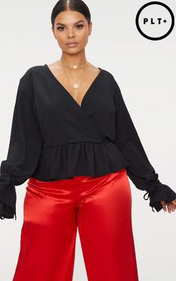 PrettyLittleThing Plus Black Chiffon Deep Plunge Blouse