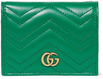 Gucci Gg Marmont Small Quilted Leather Wallet - Emerald