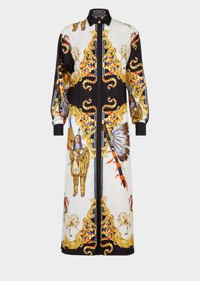 Versace Native Americans Silk Shirt Dress