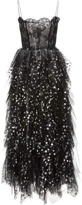 Oscar de la Renta Sequin-Embellished Lace and Tulle Midi Dress