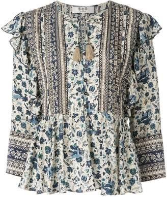 Sea floral print peplum blouse