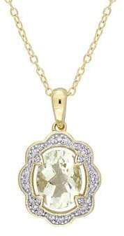 Sonatina Green Amethyst & Diamond Halo Vintage Pendant Necklace