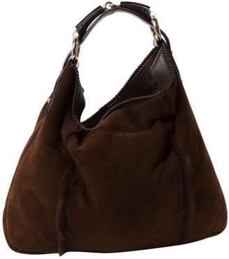 Gucci Hobo Brown Suede Handbag