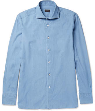 Ermenegildo Zegna Slim-Fit Cutaway-Collar Cotton-Chambray Shirt