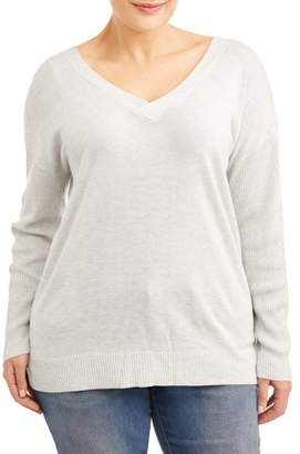 Poof Apparel Poof Women's Plus Size Tie Cut Back Sweater