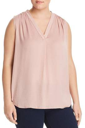 Vince Camuto Plus Shirred Satin Top