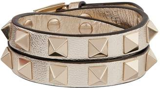 Valentino Leather Rockstud Double-Wrap Bracelet