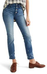Madewell Distressed Button Front High Waist Slim Straight Jeans