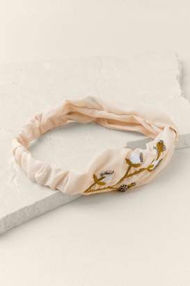 francesca's Rosie Embroidered Headwrap - Ivory