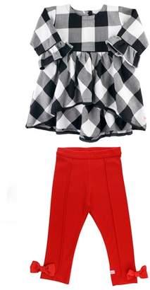 RuffleButts Check High/Low Tunic & Bow Leggings Set
