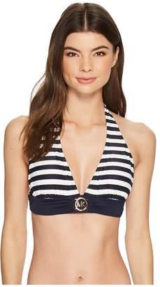 MICHAEL Michael Kors Stable Stripe Logo Ring Halter Bra Top w/ Removable Soft Cups Women's Swimwear