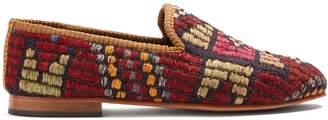 ARTEMIS DESIGN SHOES Geometric-patterned woven Kilim loafers