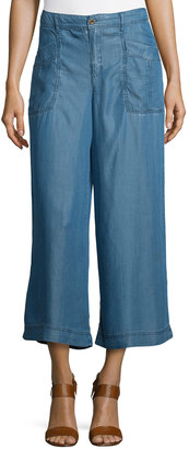 Philosophy Wide-Leg Cropped Chambray Pants, Denim $69 thestylecure.com