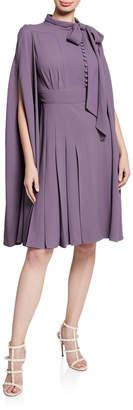 Valentino Tie-Neck Cape Dress