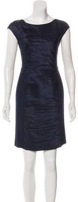 Oscar de la Renta Pleated Silk-Paneled Dress