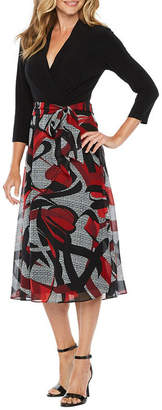 Chetta B BE BY Be by 3/4 Sleeve Abstract Fit & Flare Dress
