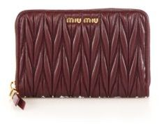 Miu Miu Miu Miu Matelasse Leather Zip Wallet