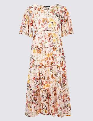 Marks and Spencer Floral Print Half Sleeve Skater Midi Dress