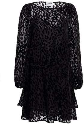 Tanya Taylor Sarina Stretch Silk Burnout Leopard Mini Dress