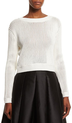Sachin & Babi Long-Sleeve Ribbed Sweater, Ivory $495 thestylecure.com