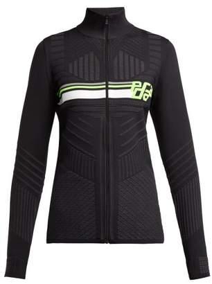Prada Geometric Jacquard Zip Up Top - Womens - Black Green