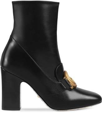 Gucci Leather ankle boot with Double G