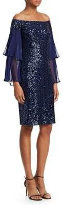 Teri Jon by Rickie Freeman Off-The-Shoulder Sequin Cocktail Dress