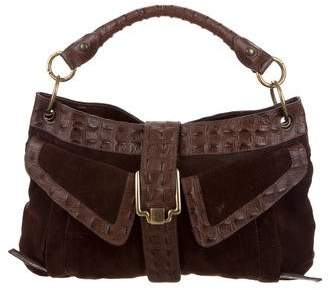 Just Cavalli Leather-Trimmed Suede Bag