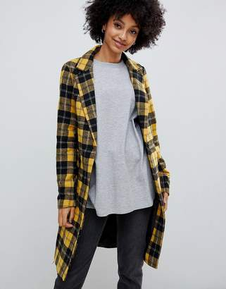 New Look tailored coat in mustard plaid