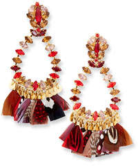 Riviera Gas Bijoux Bo Plume Feather Drop Earrings