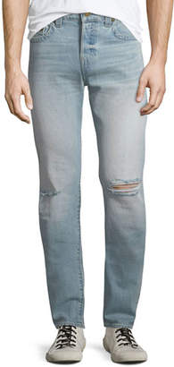 True Religion Men's Rocco Worn Light Energy Ripped-Knee Skinny Jeans