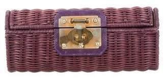 Kotur Leather-Trimmed Wicker Clutch