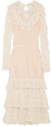 Ulla Johnson - Calliope Ruffled Crocheted Mercerized Cotton Midi Dress - Ivory $1,195 thestylecure.com