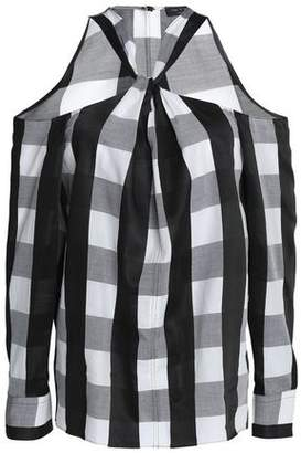 Rag & Bone Cold-Shoulder Twist-Front Checked Poplin Shirt