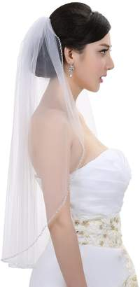 SAMKY 1T 1 Tier Pearls Bugle Beaded Wedding Veil V395