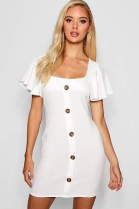 boohoo Riley Frill Sleeve Button Detail Bodycon Dress