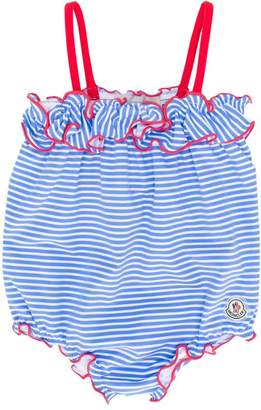 Moncler ruffled stripe swimsuit