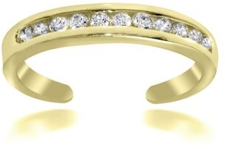 Top Seller Cubic Zirconia Channel-Set Dainty Toe Ring Gold Flash Sterling Silver