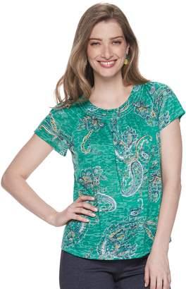 Dana Buchman Women's Short Sleeve Smocked-Neck Tee