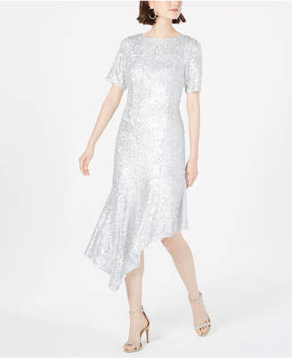 Adrianna Papell Sequined Asymmetrical Midi Dress