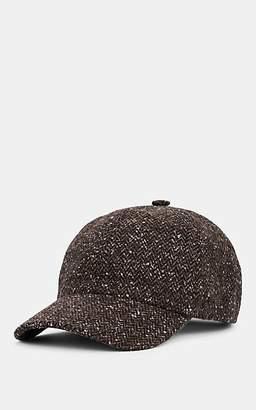 Barneys New York MEN'S DONEGAL HERRINGBONE WOOL-BLEND BASEBALL CAP - BROWN SIZE M