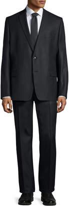 Versace Slim-Fit Pinstripe Two-Piece Wool Suit, Black Pattern