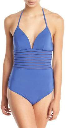 Jets Parallels Striped-Mesh Solid One-Piece Swimsuit