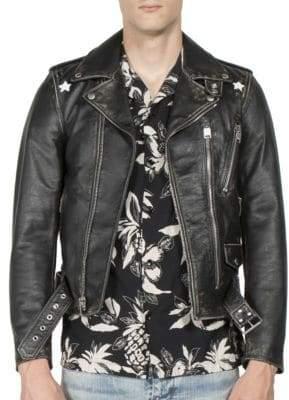 Saint Laurent Distressed Leather Jacket