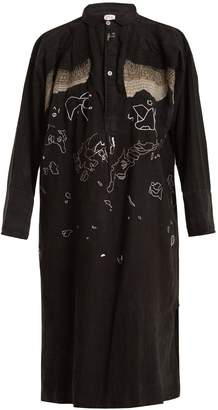KILOMETRE PARIS Tavan Tolgoï embroidered linen shirtdress