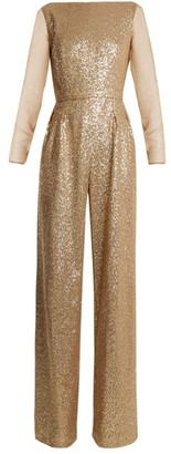 Azzaro Anja Sequin Embellished Jumpsuit - Womens - Gold