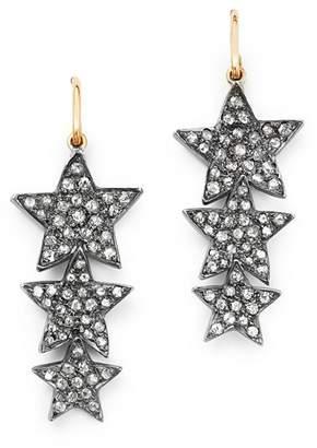 SheBee 14K Yellow Gold & Diamond Triple Star Drop Earrings