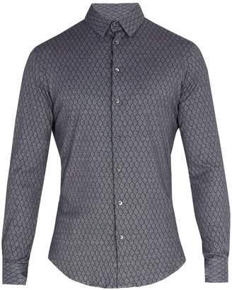Giorgio Armani Single-cuff diamond-print cotton shirt